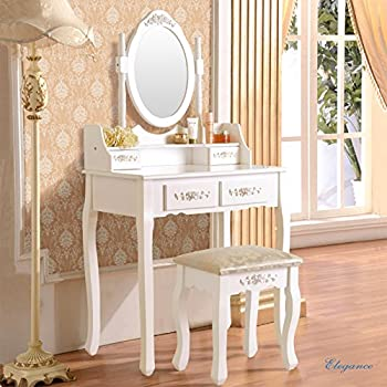Mecor Vanity Table Set With Oval Mirror/4 Drawers,Wood Makeup Dressing Table  Bathroom
