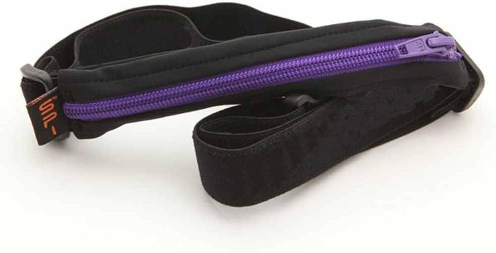 SPIbelt Ceinture de course s/érie Performance Grande poche avec boucles en gel Noir avec fermeture /éclair violette