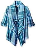 Calvin Klein Little Girls' Aurora Plaid Cardi, Medaqua, 4