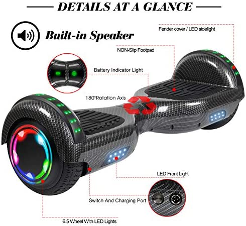 FLYING-ANT Hoverboard Self Balancing Scooters 6.5 Flash Two-Wheel Self Balancing Hoverboard with Bluetooth Speaker and LED Lights for Kids and Adults Gift