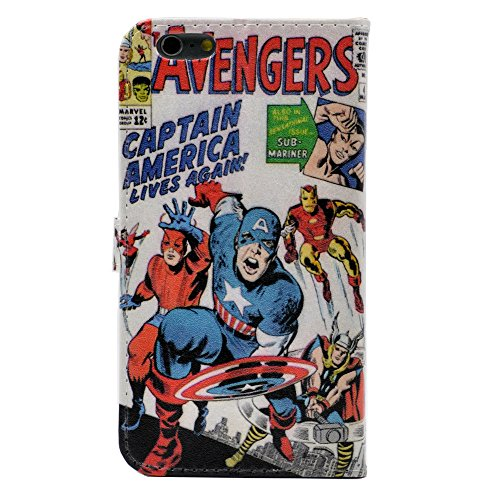 iPhone 6 Plus Case, iPhone 6S Plus Case - Cartoon Comic Superhero Alliance Pattern Slim Wallet Card Flip Stand Leather Case Cover for iPhone 6 Plus (5.5 inch)