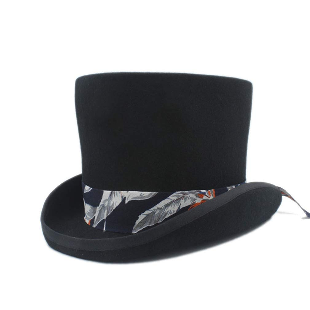 Wool Women Men Top Hat for Gentleman Lady Steampunk Fedora Hat with Floral Satin Ribbon Black