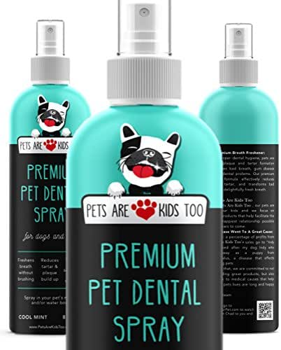 Premium Pet Dental Spray (Large - 8oz): Best Way To Eliminate Bad Dog Breath & Bad Cat Breath! Naturally Fights Plaque, Tartar & Gum Disease Without Brushing! Spray In Mouth or Add to Water! (1 Btl)