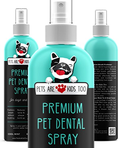 Pets Are Kids Too Premium Pet Dental Spray (Large - 8oz): Eliminate Bad Dog Breath & Bad Cat Breath! Naturally Fights Plaque, Tartar & Gum Disease Without Brushing! Add to Water! Digestive Aid! (Best Way To Treat Bad Breath)