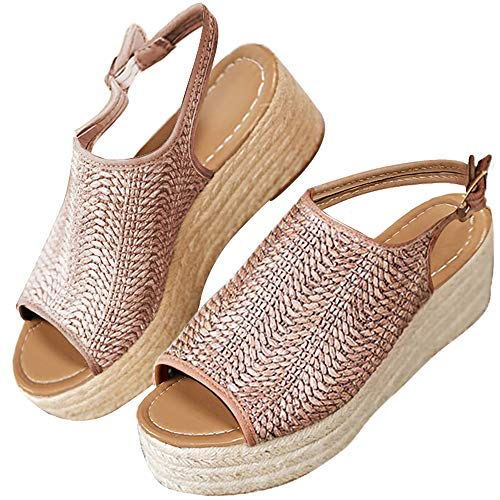 XMWEALTHY Women's Espadrilles Sandals Shoes Fashion Peep Toe Platform Wedge Ankle Strap Slingback Sandals Oatmeal US -