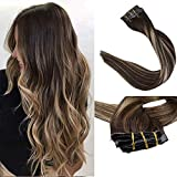 Full Shine Ombre And Highlighed Color #4/24/4 8Pcs 100 Grams 22 Inch Clips Soft Skin Silky Straight Glue Clip Hair Extensions Natural Brazilian Women Hair Invisible And Comfortabel Clip In Hair
