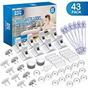 Baby Proofing, 43 Pcs Cabinet Locks Child Safety- 8 Magnetic Cabinet Locks+2 Keys, 16 Clear Corner Protectors, 10 Outlet Plugs, 6 Child Safety Locks, No Drill Required Baby Proof Set