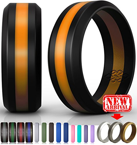 Knot Theory Orange Line Striped Silicone Wedding Ring Size 10, 8mm (Extra Wide Band Ring)