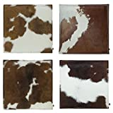 ebos Seat cushion set of 4 | 40x40cm, 100% wool felt respectively cowhide | High-quality chair cushion, seat cushion with filling | Beautiful chair cushion, felt cushion | brown-white/brown set of 4