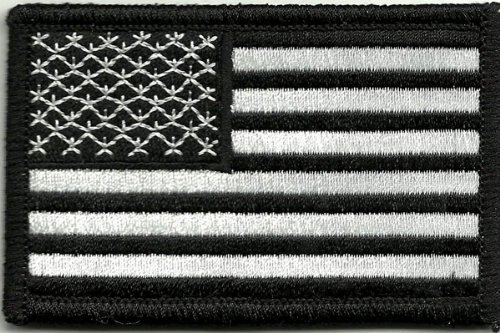 Fixxxer USA Flag - Tactical Patch - Black & White, Hook and