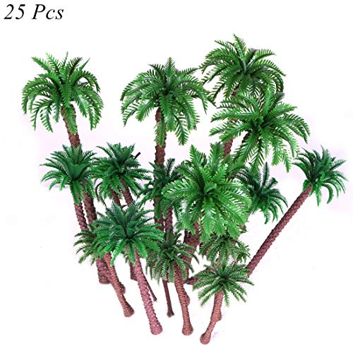 Ymeibe 25 PCS Coconut Palm Model Trees Scenery Model Plastic Artificial Layout Rainforest Diorama Miniature Landscape Trees Diorama Scenery Architecture Trees from Ymeibe
