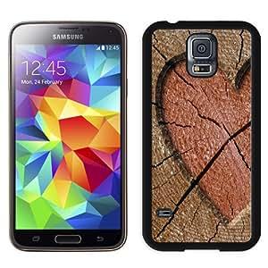 NEW Unique Custom Designed Samsung Galaxy S5 I9600 G900a G900v G900p G900t G900w Phone Case With Heart Engraved In Wood Log_Black Phone Case