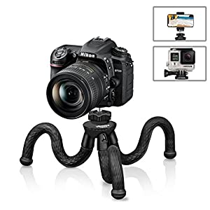 Flexible Camera Tripod, UBeesize 12 Inch Mini Tripod Stand GoPro/Action Cam/DSLR Canon Nikon Sony, Smartphone Tripod Stand with Cell Phone Holder Clip For iPhone/Android (3 in 1) - Waterproof