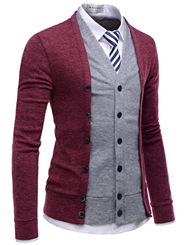 (NEARKIN (NKNKCD139 Slim Cut Look 2 Tone Layered Button Cardigan Sweater for Men Wine US XL(Tag Size)