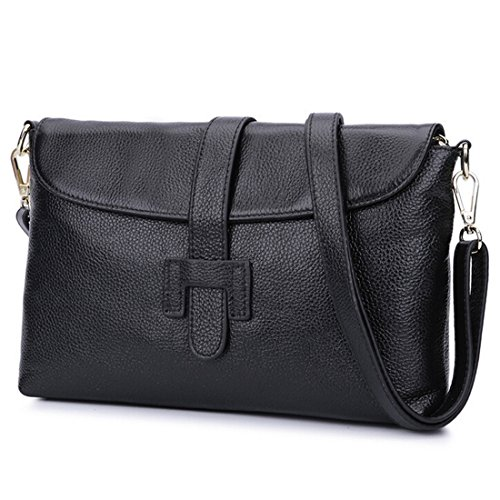 Leather Small Flap (SEALINF Women's Genuine Leather Handbag Clutch Shoulder Bag Crossbody with Flap (black))