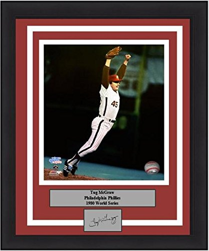 "Philadelphia Tug McGraw 1980 World Series 8"" x 10"" Baseball Framed and Matted Photo with Engraved Autograph"