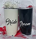 Yeti Rambler 20 Oz Tumbler, Stainless Steel, with Lid, Wedding Set, Bride and Groom, (Gloss Black and Pearl White)