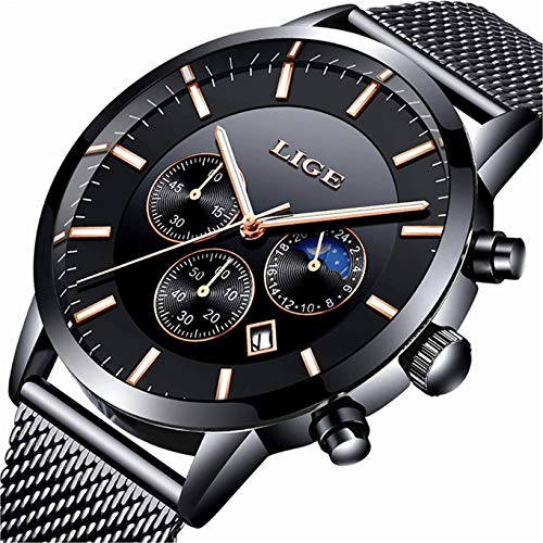 LIGE Mens Watches Military Waterproof Chronograph Date Black Stainless Steel Mesh Wrist Watch Classic Luxury Business Moon Phase Quartz Watches for Men Dress Black Dial Mesh Band