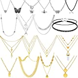 18 Pieces Layered Choker Necklaces Initial Chain Necklaces Set Gold Silver Plated Layering Chain Choker Dainty Adjustable Pendant Necklaces with Butterfly Heart Disc Moon Star for Women Girls