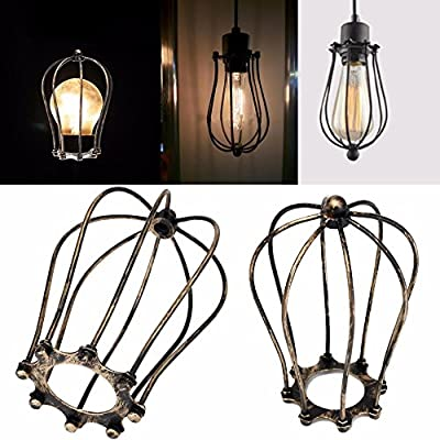 Mingruie Vintage Rust Style Hanging Pendant Light Fixture Metal Wire Cage Lamp Guard