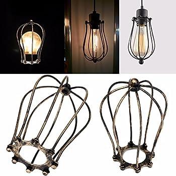 Gladle Vintage Rust Style Hanging Pendant Light Fixture Metal Wire ...