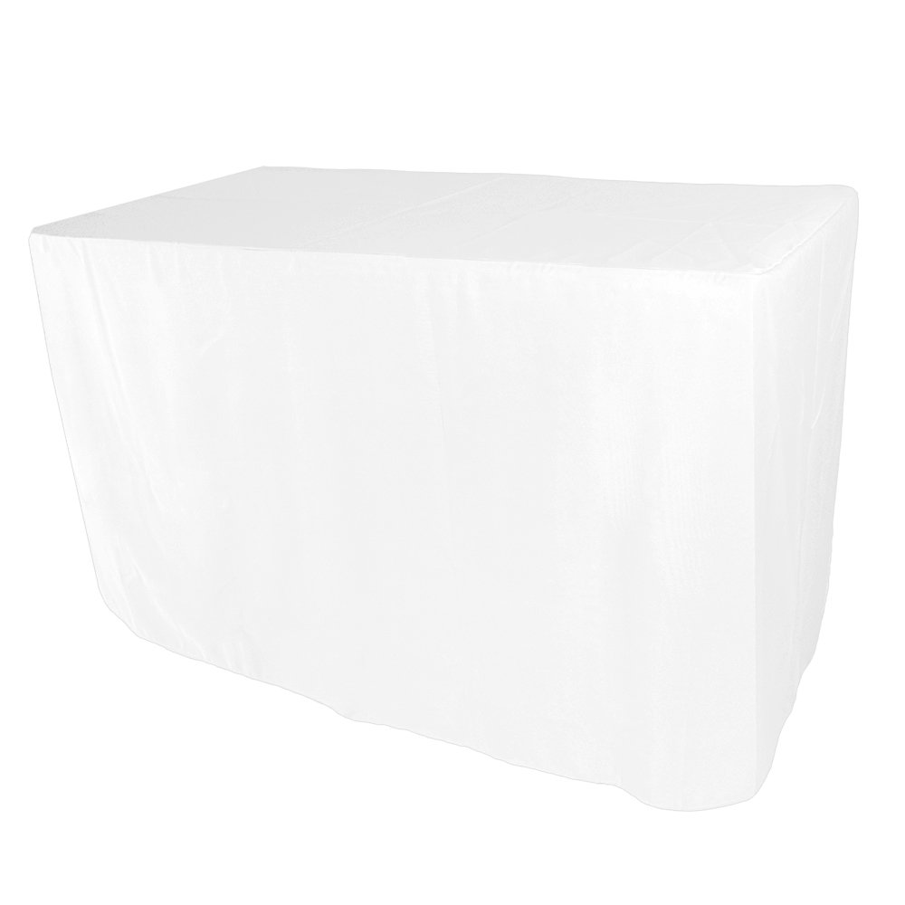 Iveecky 5FT Fitted Rectangular Polyester Wedding Restaurant Banquet Party Tablecloth White