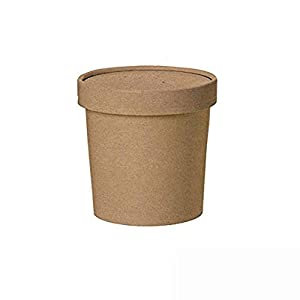 Round Kraft Soup Container Bucket with Paper Vented Lid (Case of 25), PacknWood - Recyclable Paper Bowls for Hot & Cold Foods (12 oz, 3.5