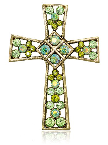 Akianna Swarovski Element Crystals Celtic Cross Pin Brooch Gold-tone - Cross Gold Celtic Tone