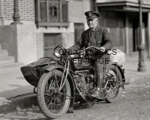 OnlyClassics 1920 INDIAN MOTORCYCLE SIDECAR PHOTO NEW YORK POLICEMAN COP IN UNIFORM AMERICANA ()