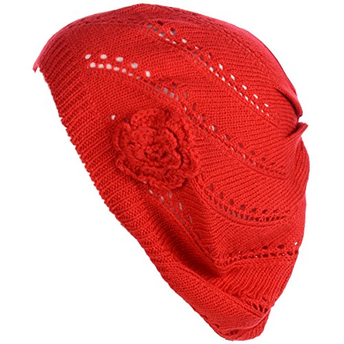 (BYOS Chic Parisian Style Lightweight Crochet Beret Beanie Hat W/Flower Adornment,More Styles (Swirl Red))