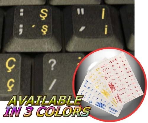 TURKISH Q KEYBOARD STICKER WITH YELLOW LETTERING TRANSPARENT BACKGROUND
