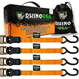 "RHINO USA Ratchet Tie Down Straps (4PK) - 1,823lb Guaranteed Max Break Strength, Includes (4) Premium 1"" x 15' Rachet Tie Downs with Padded Handles. Best for Moving, Securing Cargo (ORANGE)"