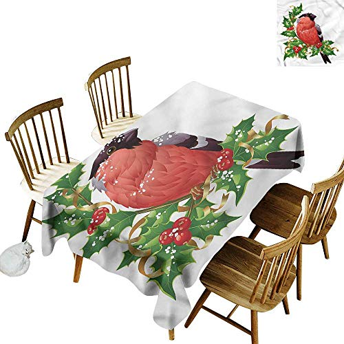 Spill-Proof Table Cover Birds Bullfinch Bird Winter Berries Table Cover for Dining 60