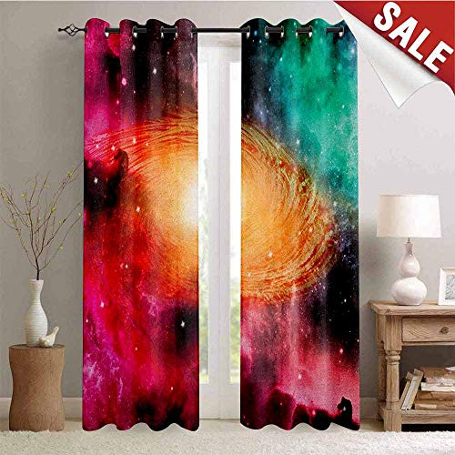 Zodiac Thermal Gromets Curtain Window Drapes 2 Panel, Colorful Astronomy Pictures of A Spiral Galaxy Stars Stardust and Cosmos Indoor Darkening Curtains, Pink Orange Green, W96 x L96 Inches