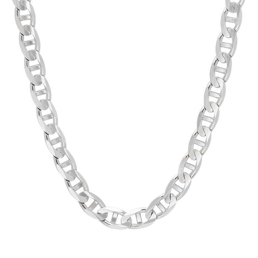 Verona Jewelers 925 Sterling Silver 3.5MM, 4.5MM, 5.5MM, 6.5MM, 8MM Solid Flat Mariner Link Chain Necklace- Sterling Silver Necklace Chain 18'' 20'' 22'' 24'' 26'' 28'' 30'' (36, 9MM)