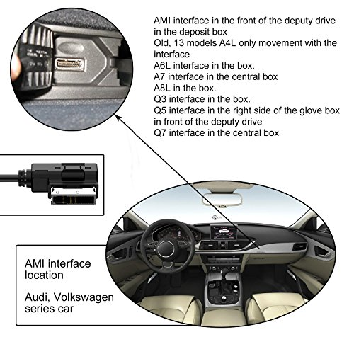 Audi VW Bluetooth 4.1 Car Kits, AMI MDI MMI to Wireless Audio Receiver Music Streaming Adaptor with 3.5mm AUX & USB Charger Port for Audi A3 A4 A5 A6 Q5 Q7,Golf Mk 7 Jetta GTI GLI Passat by Hain (Image #6)