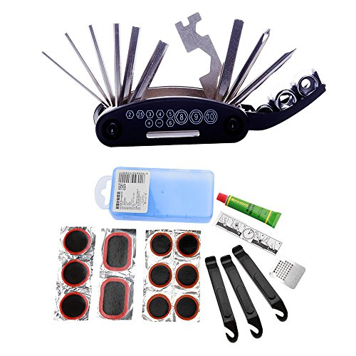 Ezyoutdoor Bike Repair Tool Kits Cycling Flat Tire Repair Kit Tool Set Kit Patch Rubber Portable Fetal