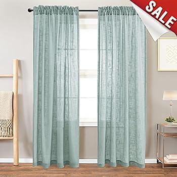 Jinchan Linen Textured Sheer Curtains Rod Pocket Drapes For Bedroom Curtain Panels Living Room Window