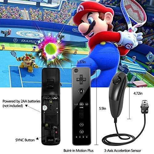 Mando a distancia NC Wii con Nunchaku Joystick, utilizado para Nintendo Wii y Wii U Consola, Gamepad con funda de silicona y correa de muñeca (1 juego), color negro 7