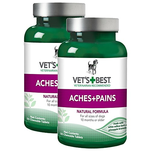 Vets Best Aspirin Free Aches and Pains Dog Supplement | Vet Formulated for Dog Pain Support and Joint Relief | 50 Chewable Tablets, 2 Pack