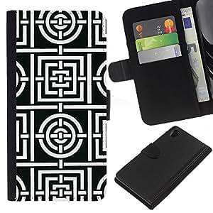 EJOY---La carpeta del tirón la caja de cuero de alta calidad de la PU Caso protector / Sony Xperia Z2 D6502 / --Modelo blanco Líneas Azulejos Forma