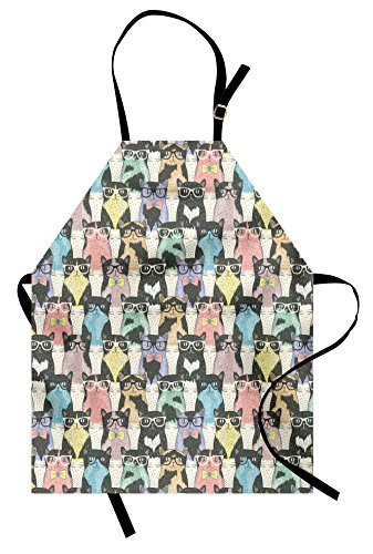 Ambesonne Funny Cartoon Apron, Playful Hipster Cats With Glasses Colorful Clip Art Dotted Designed Print, Unisex Kitchen Bib Apron with Adjustable Neck for Cooking Baking Gardening, Multicolor -