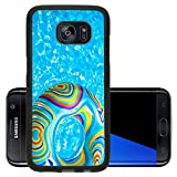 Luxlady Premium Samsung Galaxy S7 Edge Aluminum Backplate Bumper Snap Case IMAGE ID: 23577453 Inflatable colorful Rubber Ring floating in blue swimming pool