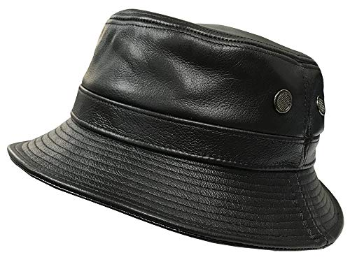 Leather Bucket Hat - Emstate Black Cowhide Leather Bucket Hat Made in USA (Black)