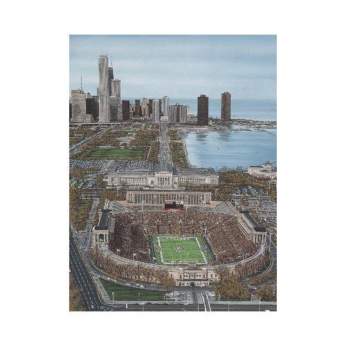 buyartforless CANVAS Chicago's Soldier Field by Darryl Vlasak 24x18 Painting Print on Wrapped Canvas Memorabilia Chicago Bears Stadium. MADE IN THE USA!