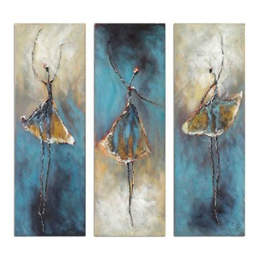 Wieco Art - 3 Piece Dancing Ballerina Canvas Oil Paintings Wall Art Decor Large 100% Hand Painted Modern Gallery Wrapped Grey Ballet Dancers Artwork Home Decorations for Living Room Bedroom Kitchen L