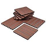Composites Decking Flooring Solid Wood - Plastics Interlocking Flooring Deck Tile Stripe Pattern for Indoor and Outdoor (Set of 10)