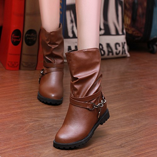 KHSKX-Autumn And Winter New Korean Plate Chain Chain Decoration Martin Boots Medium Boots Low Heel Female Boots Increased Inside Thirty-seven d1ZbXTSym
