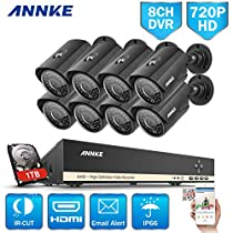 ANNKE 8-Channel Security Camera System 1080N Video DVR with 1TB HDD and (8) 1.0MP 1280TVL Outdoor Weatherproof Bullet Cameras, 36 IR LEDs with 100ft Night Vision, Metal Houising