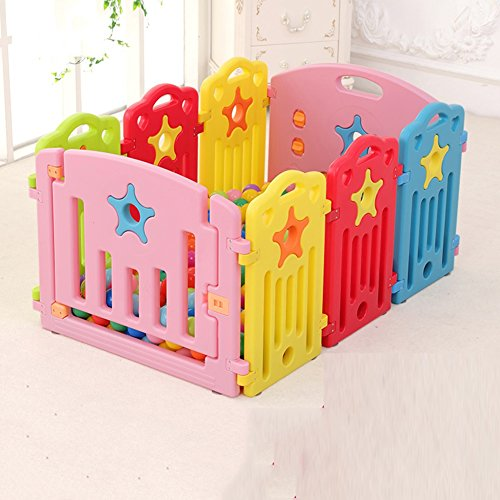 Price comparison product image Plastic Baby Playpen Kids 8 Panel Multi Color Safety Play Center Yard Home Indoor Outdoor Multicolor Versatile